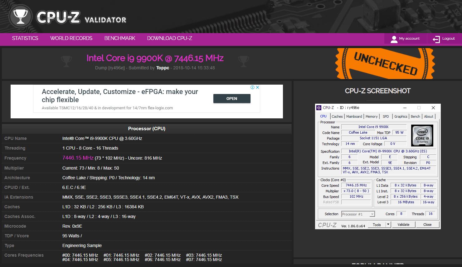 7 47GHz! MSI MEG Z390 Godlike broke the i9-9900K
