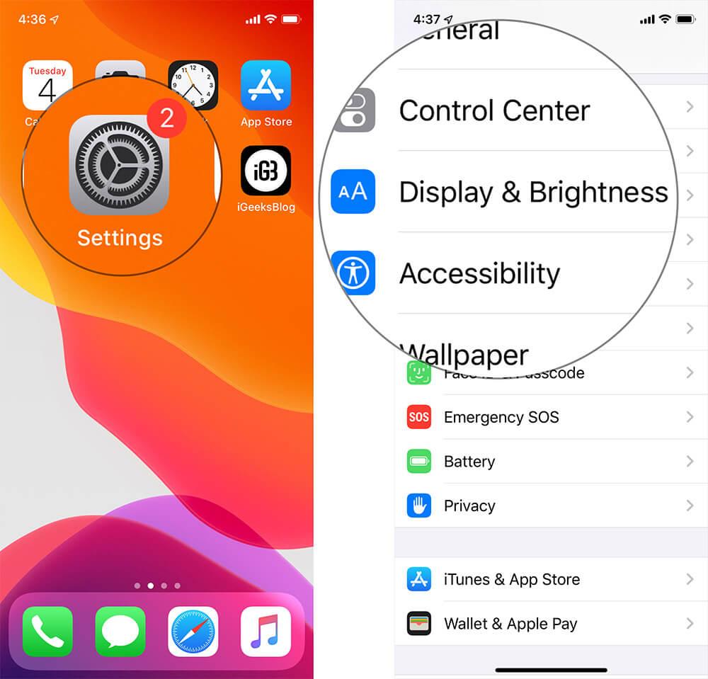 iOS 13 Dark Mode Settings