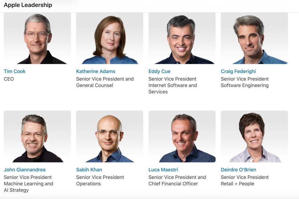 Apple Leadership page