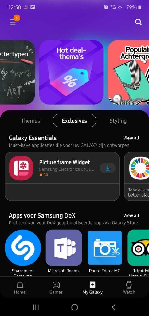 Samsung Galaxy Store Dark Mode