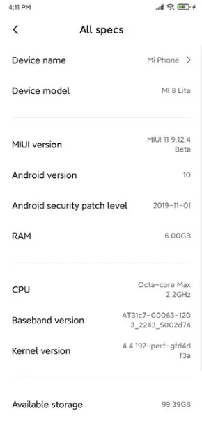 Xiaomi Mi 8 Lite Android 10