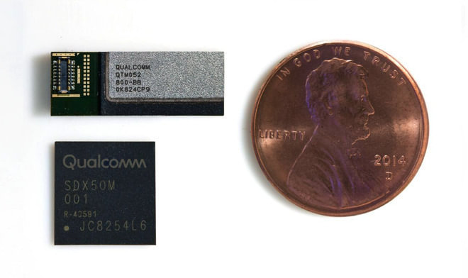 Qualcomm's 5G mmWave module and antenna for signal reception, compared in size to a penny
