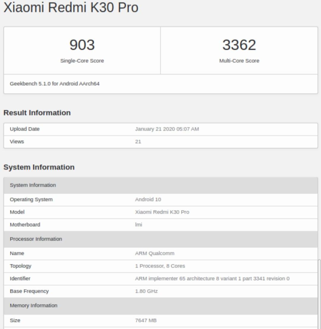 Geekbench Redmi K30 Pro