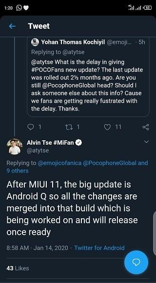POCO F1 Android 10
