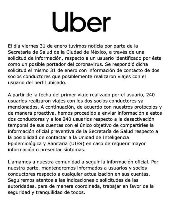 Uber Mexico Coronavirus