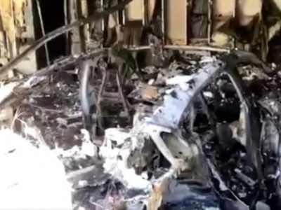Fire in a Porsche Taycan leaves it completely destroyed